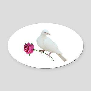 Dove Rose Oval Car Magnet