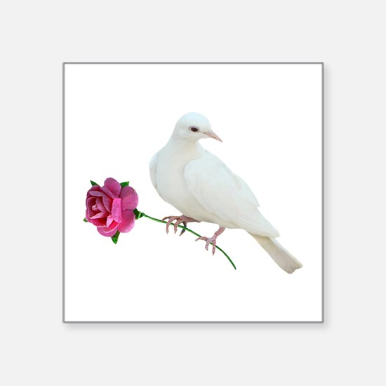 "Dove Rose Square Sticker 3"" x 3"""