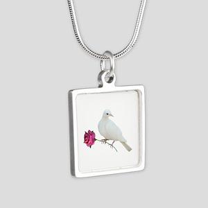 Dove Rose Silver Square Necklace