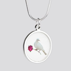 Dove Rose Silver Round Necklace
