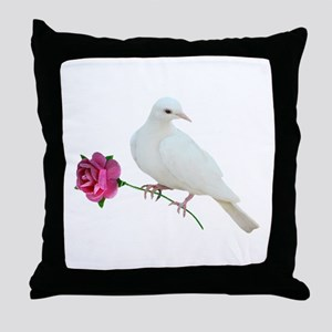 Dove Rose Throw Pillow