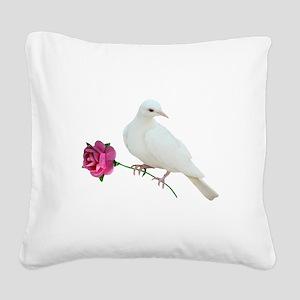 Dove Rose Square Canvas Pillow