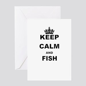 KEEP CALM AND FISH Greeting Cards