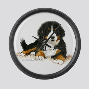 Bernese Mountain Dog Bright Eyes Large Wall Clock