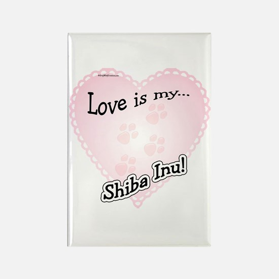 Love is my Shiba Inu Rectangle Magnet