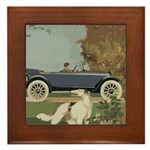 Vintage Car And Borzoi Framed Tile