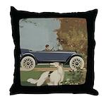 Vintage Car And Borzoi Throw Pillow