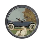 Vintage Car And Borzoi Wall Clock