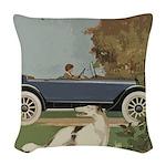 Vintage Car And Borzoi Woven Throw Pillow