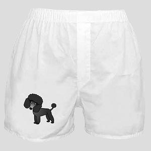 Cute Poodle Black Coat Boxer Shorts