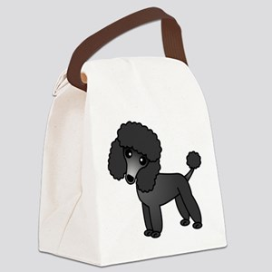 Cute Poodle Black Coat Canvas Lunch Bag
