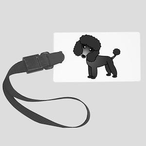 Cute Poodle Black Coat Luggage Tag
