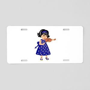 violin player young girl blue dress Aluminum Licen