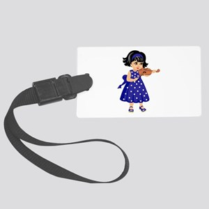 violin player young girl blue dress Luggage Tag