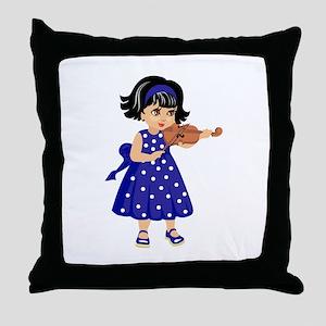 violin player young girl blue dress Throw Pillow