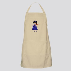 violin player young girl blue dress Apron