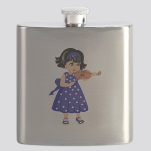 violin player young girl blue dress Flask