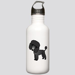 Cute Poodle Black Coat Water Bottle