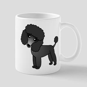 Cute Poodle Black Coat Mugs
