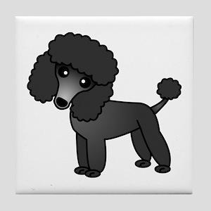 Cute Poodle Black Coat Tile Coaster