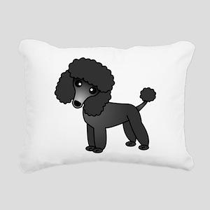 Cute Poodle Black Coat Rectangular Canvas Pillow
