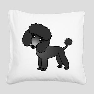 Cute Poodle Black Coat Square Canvas Pillow