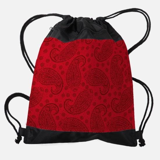 Red Paisley Pattern Drawstring Bag