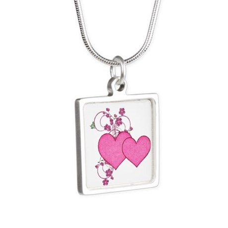 Double Pink Hearts Design Necklaces