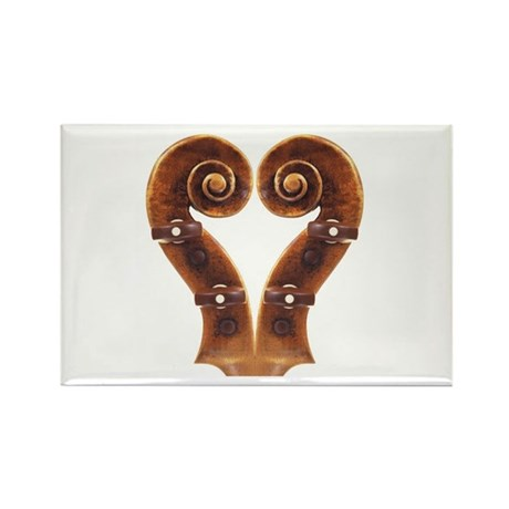 Violin Scroll Heart Rectangle Magnet