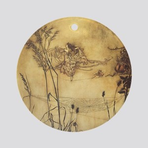 Fairy's Tightrope by Arthur Rackham Round Ornament