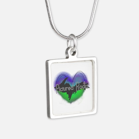 Aurora Pictured Rocks Silver Square Necklace