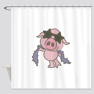 Pig Star Shower Curtain