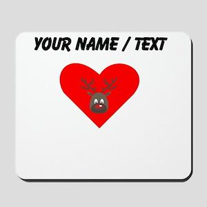 Custom Cute Red Nose Reindeer Heart Mousepad