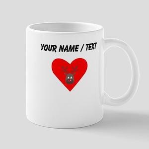 Custom Cute Red Nose Reindeer Heart Mugs