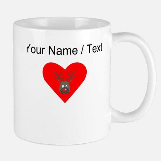 Custom Cute Red Nose Reindeer Heart Mugs