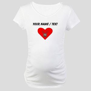 Custom Cute Red Nose Reindeer Heart Maternity T-Sh