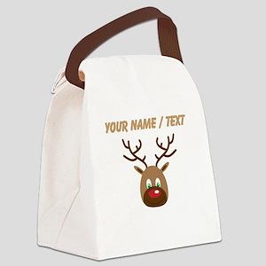Custom Cute Red Nose Reindeer Canvas Lunch Bag