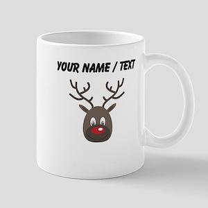 Custom Cute Red Nose Reindeer Mugs