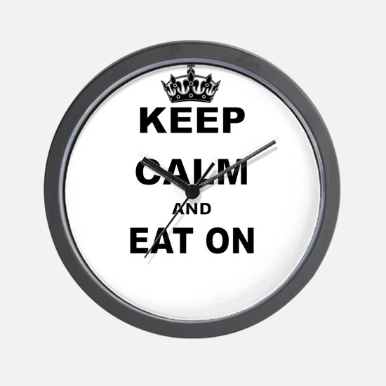 KEEP CALM AND EAT ON Wall Clock