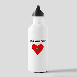 Custom Brown Owl Heart Sports Water Bottle