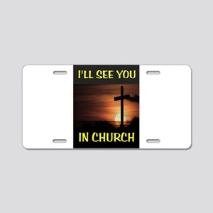 CHURCH CROSS Aluminum License Plate