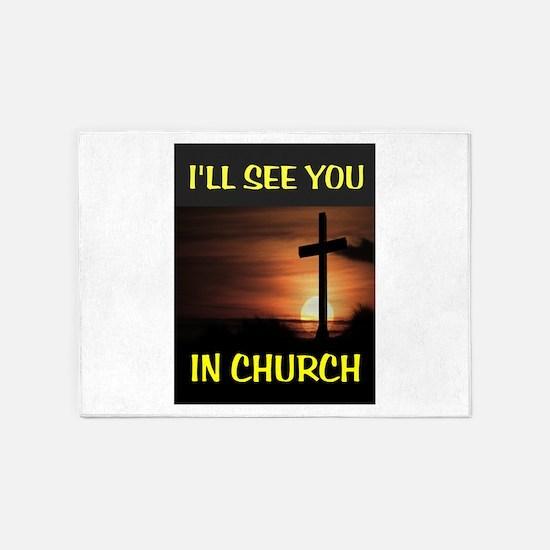 CHURCH CROSS 5'x7'Area Rug