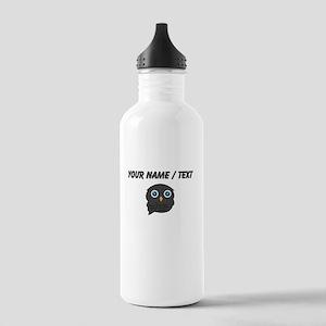 Custom Black Owl Sports Water Bottle