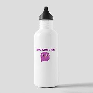 Custom Purple Owl Sports Water Bottle