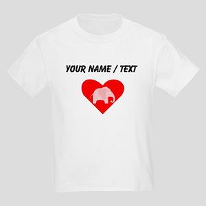 Custom Pink Polka Dots Elephant Heart T-Shirt