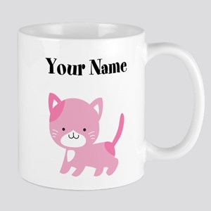 Personalized Pink Cat Mugs