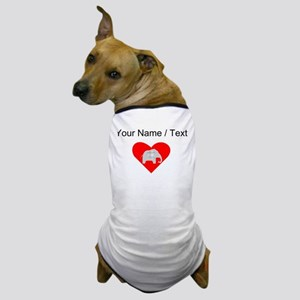 Custom Grey Plaid Elephant Heart Dog T-Shirt