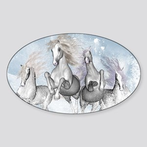 Wonderful wild horses running in the snow Sticker