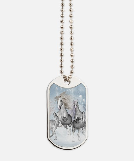 Wonderful wild horses running in the snow Dog Tags