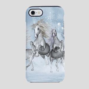 Wonderful wild horses running in the snow iPhone 7